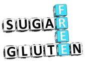 3D Gluten Sugar Free Crossword cube words — Stock Photo