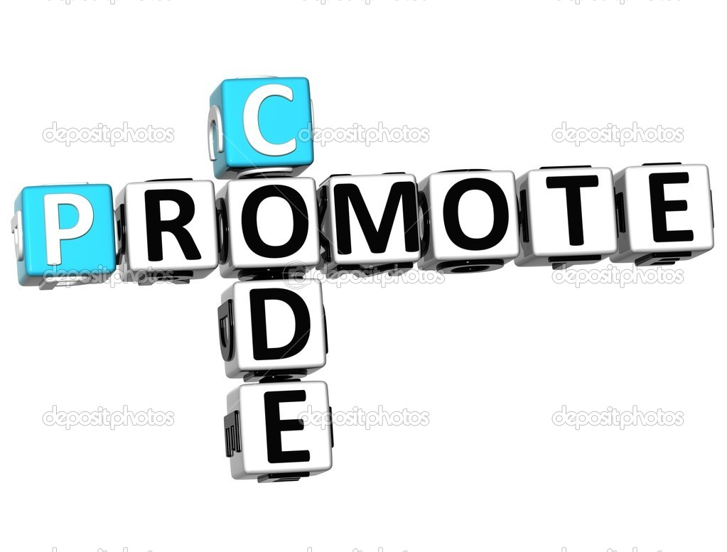 3D Promote Code Crossword cube words on white background — Stock Photo #9346751