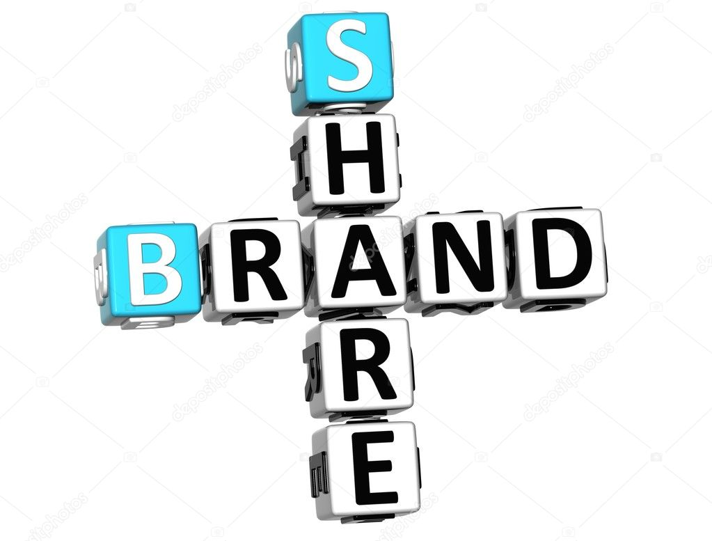 3D Share Brand Crossword cube words on white background  Stock Photo #9347037