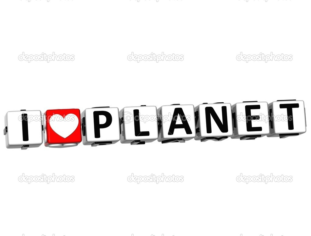 3D I Love Planet Crossword Block text on white background — Stock Photo #9903004