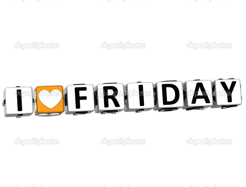 3D I Love Friday Crossword Block text on white background — Stock Photo #9903021