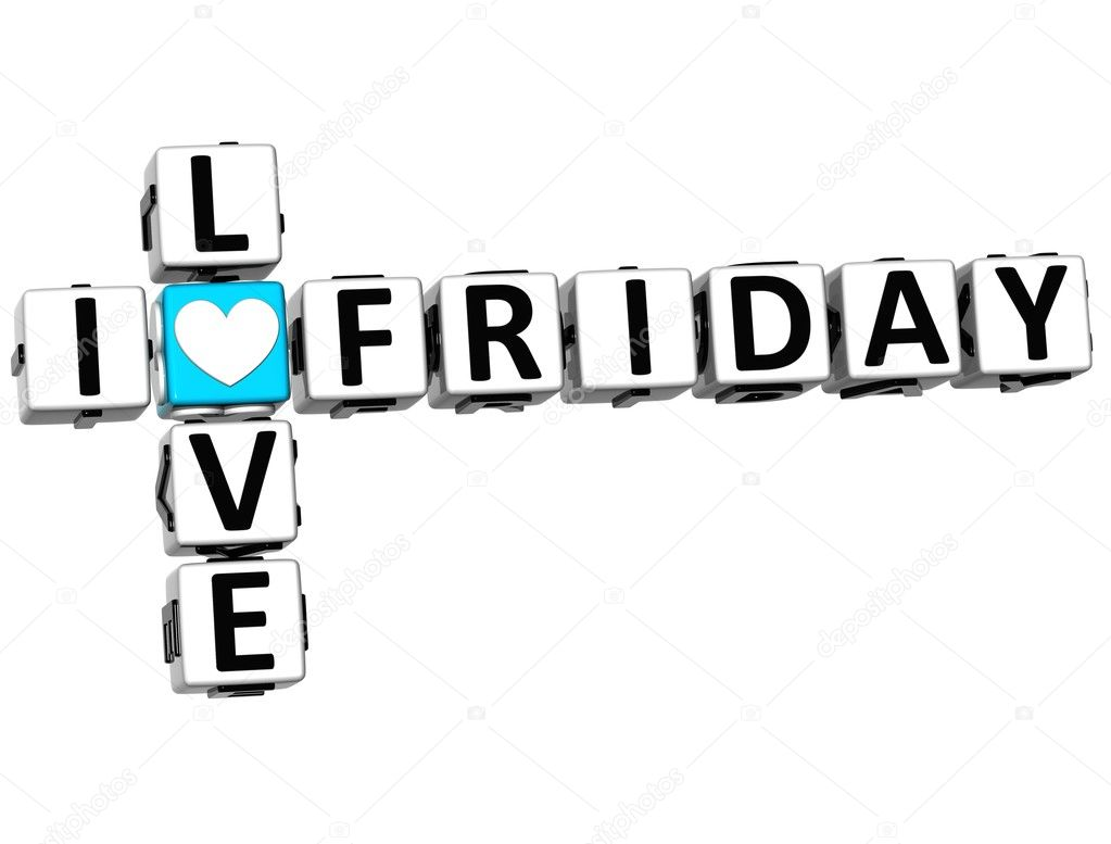 3D I Love Friday Crossword Block text on white background — Stock Photo #9903027