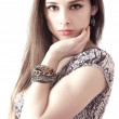 Stock Photo: Fashion sexy girl with bangle on the hand with long hair isolate