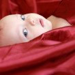 Adorable baby looking out of the red bright covered with big int — Stock Photo #8704117