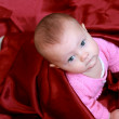 Portrait of blue eyes beautiful baby girl looking up and lying o — Stock Photo #8776256