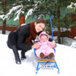 Beautiful young mother with small baby girl walking on winter we — Stock fotografie #9227890