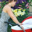 Young mother looking on new born baby in red pram and smiling wi — ストック写真