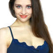 Closeup portrait of beautiful friendly girl with long hair isola - Stockfoto