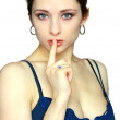 Attractive moden young woman with silence sign. Fasion portrait — Stock Photo