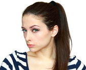 Closeup portrait of suspicious beautiful young woman isolated on — Stock Photo