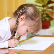 Child draw with colorful crayons — Stock Photo