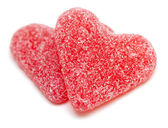 Two heart-shaped candies — Stock Photo