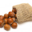 Hazelnuts falling from a miniature burlap sack — Stock Photo #8943476