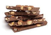 Mléčná čokoláda s lískovými oříšky — Stock fotografie