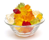 Gummy bear candies in a glass bowl — Stock Photo