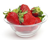 Strawberry in a glass bowl — Стоковое фото