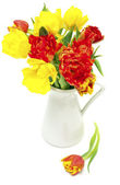 Vase with colorfull tulips — Stock Photo