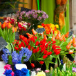 Foto Stock: Colorful flowers on market
