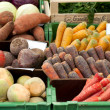 Fresh organic Fruits and vegetables in a farmers market — Foto de Stock