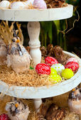 Painted Easter eggs and Easter decorations — Fotografia Stock