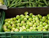 Coles de bruselas frescos en una caja en la verdulería en el mercado — Foto de Stock