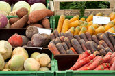 Fresh organic Fruits and vegetables in a farmers market — Stock Photo