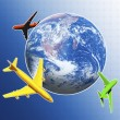 Planes and earth globe - Stock Photo