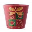 Red Christmas plant pot — Stock Photo