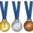 Three winners medals - Stock Photo