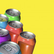Six colorful drink cans - Stock Photo
