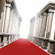 Red carpet and pillars — Zdjęcie stockowe