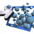 Computer, arrow and spheres — Stock Photo