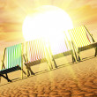 Deck chairs and sun — Stock Photo