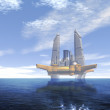 Stock Photo: Futuristic city at sea