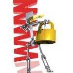 Robot holding padlock — Stock Photo