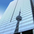 Stock Photo: CN Tower, seen as refection in glass