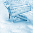 Supermarket trolly in the snow — Stock Photo