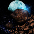 Stock Photo: Meteors passing orbit of moon