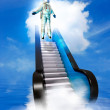 Astronaut and stairs — Stock Photo