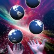 Stock Photo: Multiple Earths been juggled