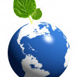 Stock Photo: Earth and green leaf