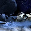 Foto Stock: Large space vehicle on moon planet surface