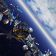Space junk orbiting earth — Stock Photo