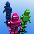 Three retro styled robots — Stock Photo
