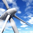 Stock Photo: Wind turbine and blue sky with clouds