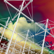 Stock Photo: High Frequency Active Auroral antenna array and clouds