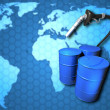 Oil drums, fuel pump on world map. — Stock Photo