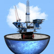 Stock Photo: Oil rig and earth 3d graphic