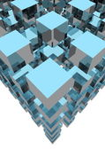 3d rendering of blue cubes — Stock Photo