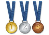 Three winners medals — Stock Photo